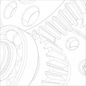 image of bearings  - Gears with bearings and shafts - JPG