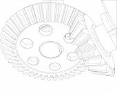 stock photo of bearings  - Gears with bearings and shafts - JPG