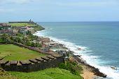 stock photo of el morro castle  - San Juan Castillo San Felipe del Morro El Morro and Old San Juan skyline by the sea - JPG
