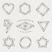 picture of impossible  - Vector set of line art tattoo style impossible shapes on a crumpled paper background - JPG