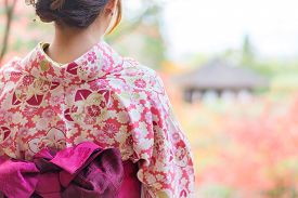 picture of japan girl  - Back of a pretty Japanese girl in beautiful atmosphere - JPG