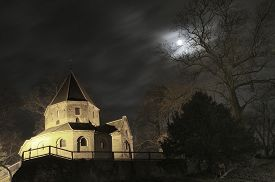 image of saint-nicolas  - Saint Nicolas church under full moon in Europe.