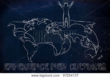 Experience new cultures happy man on world map with visited places experience new cultures happy man on world map with visited places poster gumiabroncs Choice Image