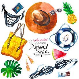 stock photo of passport template  - Watercolor fashion illustration - JPG