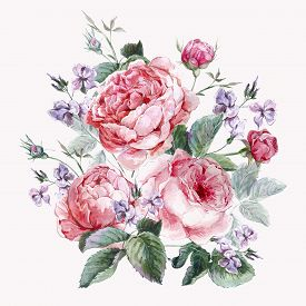 pic of english rose  - Classical vintage floral greeting card - JPG