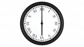 picture of analog clock  - Realistic 3D render of a wall clock with Roman numerals set at 6 o - JPG