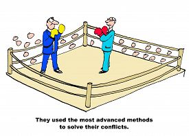 picture of boxing  - Business cartoon showing two businessmen wearing boxing gloves in a boxing ring - JPG