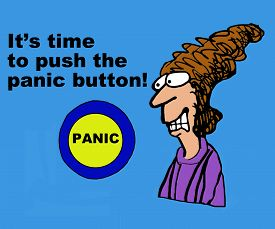 image of panic  - Business cartoon showing harried businesswoman - JPG