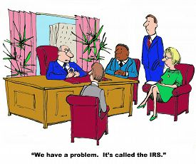 stock photo of irs  - Business cartoon showing people sitting in an office and businessman saying to them - JPG