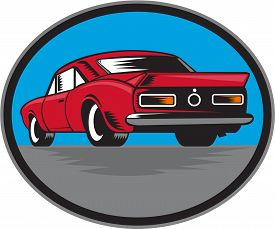 foto of muscle-car  - Illustration of an american vintage muscle car set inside oval viewed from rear on isolated background done in retro woodcut style - JPG