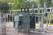 picture of hydro-electric  - A large electrical transformer is part of a sub station - JPG