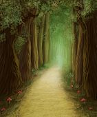 stock photo of magical-mushroom  - Magic Dark Forest Road and mushrooms - JPG