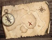 nautical compass on table with old treasure map 3d illustration poster