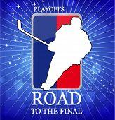 Постер, плакат: хоккеист плей офф векторные плакат