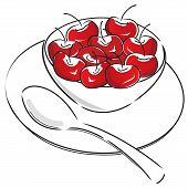 foto of bing  - illustration of small bowl of bing cherries - JPG