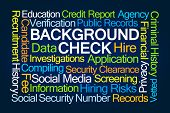 Background Check Word Cloud on Blue Background poster