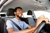 Close Up Happy African American Man Driving Car poster