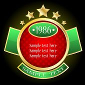 stock photo of corbel  - Glass gold sticker with red and green elements - JPG