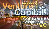 Background concept wordcloud illustration of venture capital glowing light