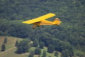 stock photo of taylorcraft  - Small 1946 Taylorcraft taildragger airplane flying across rural Pennsylvania - JPG