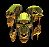 stock photo of hades  - 3D render depicting a trio of laughing demon skulls - JPG