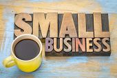 small business banner in vintage letterpress wood type blocks stained by color inks with a cup of co poster