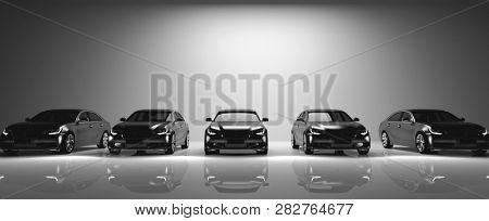 Fleet of black cars on