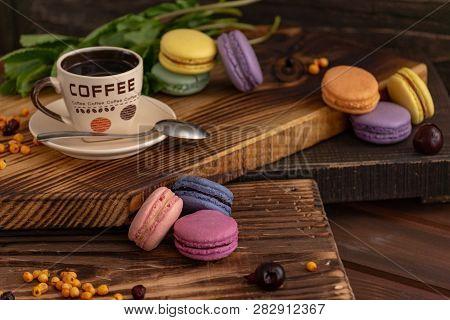 Varicolored Tasty Macaroon Cookies Lie