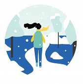 Winter Running Concept - Young Pretty Woman In Warm Clothes Jogging In Snow Covered Park, Flat Carto poster