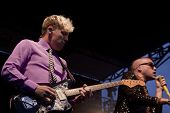 CLARK, NJ - SEPT 17: Guitarist Chris Allen and lead singer Tyler Glenn of the band Neon Trees perfor