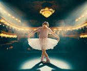 Cute little girl dreaming of becoming a ballerina. Child girl in a pink tutu dancing on the stage. B poster