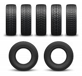 Car Tires Or Auto Tyres 3d Vector Illustration. Automobile Wheels With Different Tread Patterns From poster