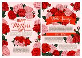 Happy Mothers Day Springtime Seasonal Holiday Greeting Cards Of Red Roses And Flowers Bunch For Spri poster