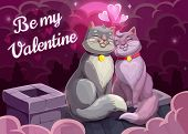 Be My Valentine Vector Greeting Card With Loving Couple Of Cats. Kitty Animals Sitting On Roof With  poster