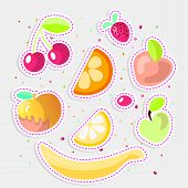 Cute Cartoon Fruit Collection. Sweet Fruits Icon, Summer Fruit Desserts Isolated On White Background poster