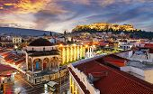 Panoramic View Over The Old Town Of Athens And The Parthenon Temple Of The Acropolis During Sunrise poster