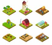 Isometric Farm. Farmer Tractor Lorry And Harvester. Livestock And Agricultural Green Plants. 3d Farm poster