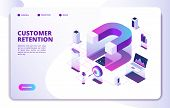 Customer Retention Isometric Landing Page. Client Loyalty Sale Branding Marketing, Relationship. Att poster