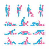 Sexual Position Vector Icons. Sex Positioning Between Man And Woman Couple Pictograms, Kamasutra Vec poster