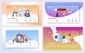 Online Shopping Payment Transaction Landing Page Set. Internet E-commerce Store Sale Technology. Mar poster