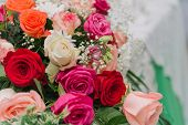 Bouquet Of Flowers. Multicolored Roses. Bouquet Of Different Flowers. poster