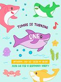 Baby Shower Birthday Invitation Card Kawaii Style With Cute Shark And Marine Creatures. Kids Banner, poster