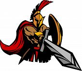 stock photo of spartan  - Greek Spartan or Trojan Mascot Stabbing with Sword - JPG