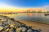 Scenic Sunset On San Diego Bay From Old Wooden Pier In Coronado Island, California. People And Touri poster