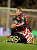 BARCELONA - FEB 20: Andres Iniesta of Barcelona in action during the match between FC Barcelona and