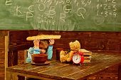 Break Time. Little Boy Relax During School Break. Child Have Lunch Break At Table In Class. Take A B poster