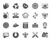 Company Building, Vocabulary, Profits Timeline Icons. Turbine, Wind, Thermostat Icons. Tree, Bacteri poster