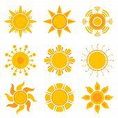 Sun Graphics. Summer Weather Sunshine Symbols Vector Yellow Collection. Illustration Of Sun Orange S poster