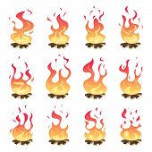 Camp Fire Animation. Outdoor Fireplace Hiking Bonfire Burn Vector Key Frames. Bonfire Motion, Animat poster