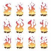 Camp Fire Animation. Outdoor Fireplace Hiking Bonfire Burn Vector Key Frames. Bonfire Motion, Animat poster